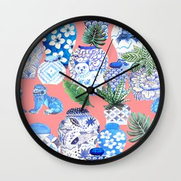 Coral pink Chinoiserie Chinese ginger jars... Wall Clock