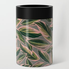 Calathea Leaves Pattern- Pink Green Gray Can Cooler
