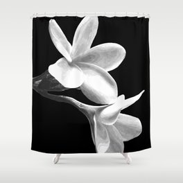 White Flowers Black Background Shower Curtain
