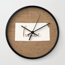 Kansas is Home - White on Burlap Wall Clock