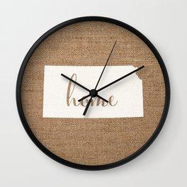 Kansas is Home - White on Burlap Wall Clock