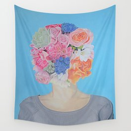 Head in the Flowers Wall Tapestry