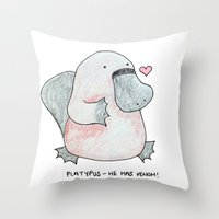 platypus Throw Pillows featuring Platypus by Daynasdoodleydoos