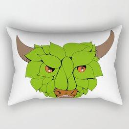Green Bull Head Drawing Rectangular Pillow