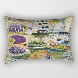 Mixed Media Art. Numbers, Circles & Words. Purpose Art. Deep Plum, Yellow, Greens and Blues Rectangular Pillow