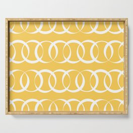 Yellow and white elegant intersecting circles pattern Serving Tray