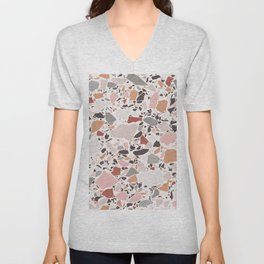 Neutral Terrazzo / Earth Tone Abstraction Unisex V-Neck