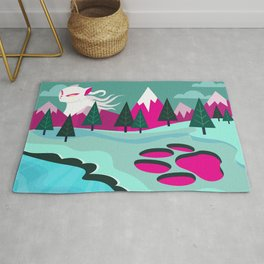 Monster Cat in the Mountains Rug