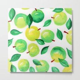 Watercolor green apples with leaves Metal Print