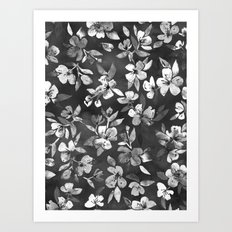 Blossoms on Charcoal Ink Art Print