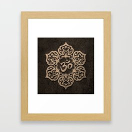 Aged Stone Lotus Flower Yoga Om Framed Art Print