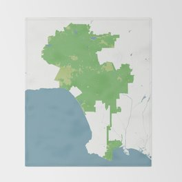 Los Angeles California Minimalist Map (Cucumber) Throw Blanket
