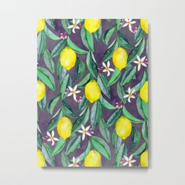 When Life Gives You Lemons - grey purple Metal Print