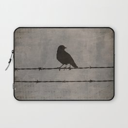 Rustic Black Bird Barbed Wire Modern Country Home Decor Art Matted Picture A476 Laptop Sleeve