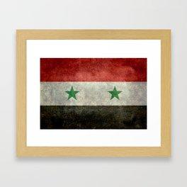 Syrian national flag, vintage Framed Art Print