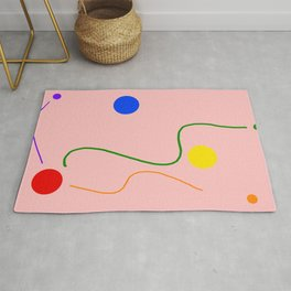 Freedom dots and lines on light pink colored background  Rug