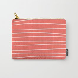 Coral Brush Lines Carry-All Pouch