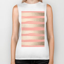 Painted Stripes Tahitian Gold on Coral Pink Biker Tank