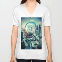 dream catcher V-neck T-shirts featuring Dream Catcher by Sandy Broenimann