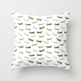 Dachshunds in blue and brown Throw Pillow