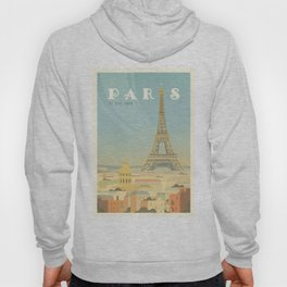 Paris France Eiffel Tower Vintage Travel Poster Commercial Air Travel Hoody