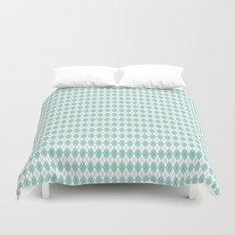 Argyle White & Aqua, Black Stitch Duvet Cover