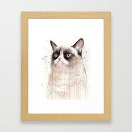 Grumpy Watercolor Cat Geek Meme Whimsical Animals Framed Art Print