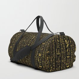 Egyptian hieroglyphs vintage gold on black Duffle Bag