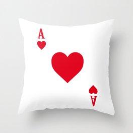 Ace of Hearts I 21 Casino Blackjack I Card Poker graphic Throw Pillow