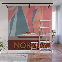 Norway fjords retro vintage style travel Wall Mural