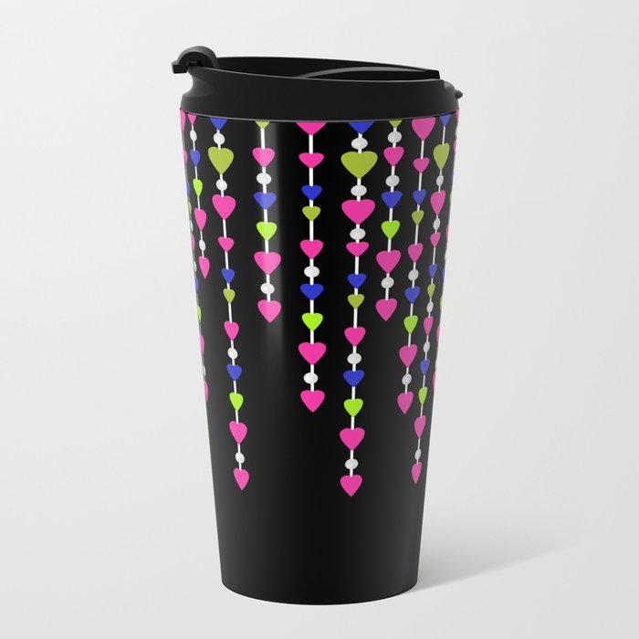Pearl beads and hearts .2 Metal Travel Mug