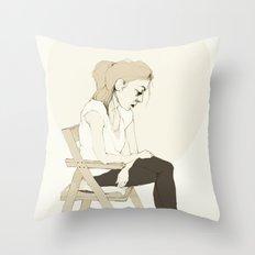 girl sitting Throw Pillow