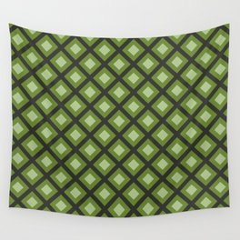 Green and Gray Zigzag Square Checker Pattern Wall Tapestry