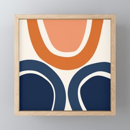 Abstract Shapes 20 in Burnt Orange and Navy Blue Framed Mini Art Print