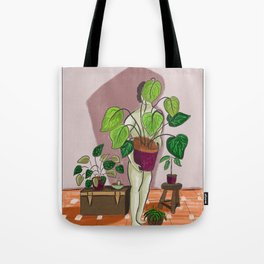 boys with love for plants illustration painting Tote Bag