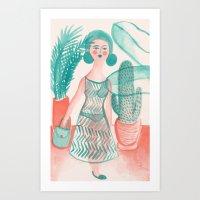 succulent Art Prints featuring Succulent by Kathryn Twirls