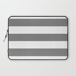 Trolley grey - solid color - white stripes pattern Laptop Sleeve