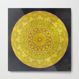 Yellow Psychedelic Mandala Kaleidoscope Metal Print