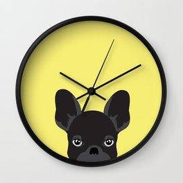 French bulldog banana yellow Wall Clock