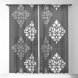 Scroll Damask Art I Black Grey White Sheer Curtain