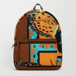 WESTERN COFFEE BROWN-TURQUOISE  BUTTERFLY & BEETLES ART Backpack
