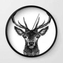 Deer Head Drawing Black Wall Clock