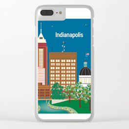 Indianapolis, Indiana - Skyline Illustration by Loose Petals Clear iPhone Case