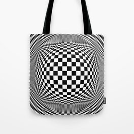 Optical Illusion Checkers Chequeres  Tote Bag