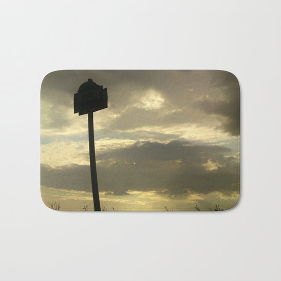 Grey tan stormy clouds in the middle of nowhere Bath Mat