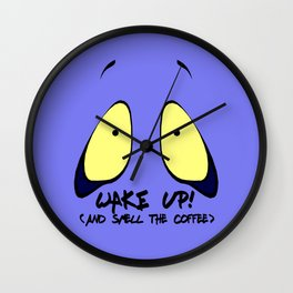 Funny wake up (and smell the coffee) cartoon style Wall Clock