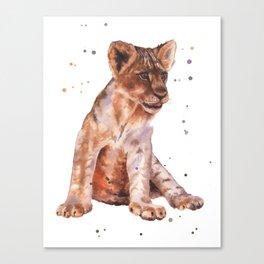 LION cub painting, lions, safari animals, wildlife art, watercolor lion, lion painting Canvas Print
