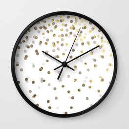 Gold and Charcoal Confetti Pattern Wall Clock