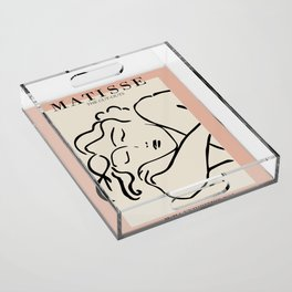 Henri matisse sleeping woman, matisse cut outs, cream and pink Acrylic Tray