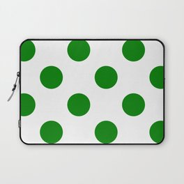 Large Polka Dots - Green on White Laptop Sleeve
